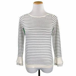LOFT Petites Striped Ruffle Cuff Boatneck Sweater